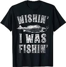 Wishin' I Was Fishin' T shirt Men Women Fishing Kids Boys