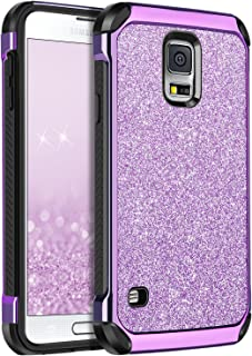 Galaxy S5 Case, BENTOBEN Glitter Bling Luxury 2 in 1 Hybrid Super Slim Hard Laminated with Sparkly Shiny Faux Leather Chrome Shockproof Protective Case for Samsung Galaxy S5 (i9600), Purple