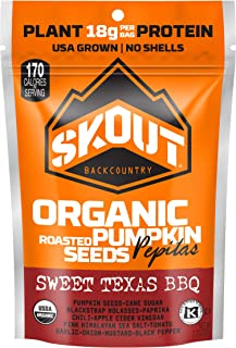 SKOUT Organic Roasted Pumpkin Seeds - Sweet Texas BBQ - Pepitas With No Shell - Vegan, Low Carb Snacks - Paleo Foods - Gluten Free - Non-GMO - Kosher - Grown in USA - 2.2 oz (6 Count)