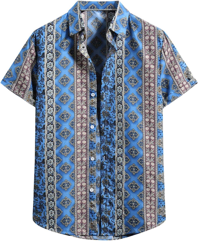 WYTong Men's Short Sleeve T-shirt Hawaiian Beach Shirt Flower Print Tee O-neck Turtleneck Shirt Blouse