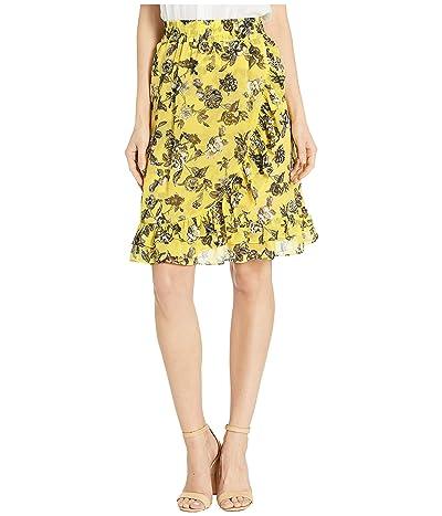 kensie Romantic Rose Ruffle Front Skirt KS6K6359 (Canary Combo) Women