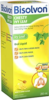 Bisolvon Chesty Ivy Leaf Oral Liquid - Triple Action Relief - Helps Thin, Loosen and Clear Mucus - Helps Calm Coughs, 200ml
