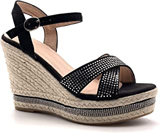 Angkorly Chaussure Mode Sandale Nu-Pieds Grosse Plateforme Boh/ème Mariage c/ér/émonie Femme Brillant Corde Rayures Traits Talon compens/é Plateforme 10 CM