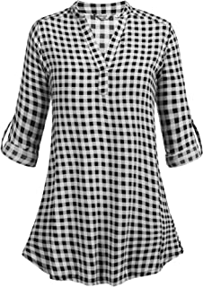 Women's Casual Long Sleeve Plaid Shirts V-Neck Tunic Pullover Blouse Top