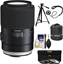 Tamron SP 90mm f/2.8 Di VC USD Macro 1:1 Lens + 3 Filters + Pouch + Tripod Kit for Canon EOS 6D, 7D, 70D, 80D, 5DS, 5D Mark II III, Rebel T5, T5i, T6, T6i, T6s, SL1
