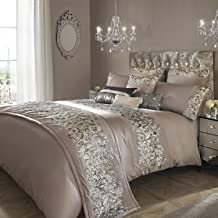 Kylie Minogue Petra Super King Quilt Cover Bedding Bed Linen Sequined Pewter, Silver