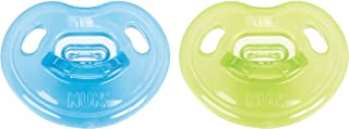 NUK Newborn 100% Silicone Orthodontic Pacifier, 0-3 Months, Blue/Green, 2pk