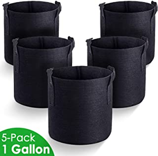 MAXSISUN 5-Pack 1 Gallon Plant Grow Bags, Heavy Duty Thickened Non-Woven Aeration Fabric Pots Container with Reinforced Handles for Gardening