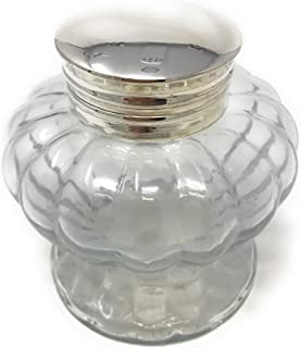Madison Bay Company Pedestal Glass Inkwell, Clear Swirled, 3 Inch Diameter X 3.25 Inches Tall