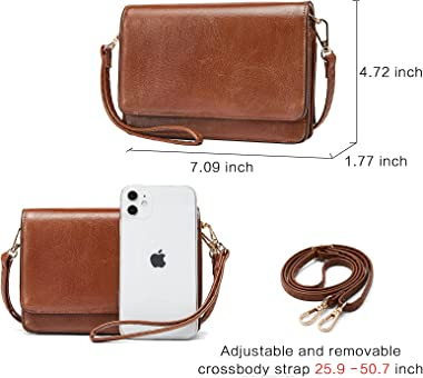 BROMEN Bolsos cruzados para las mujeres bolso pequeño del hombro del teléfono celular de la cartera del embrague del bolso