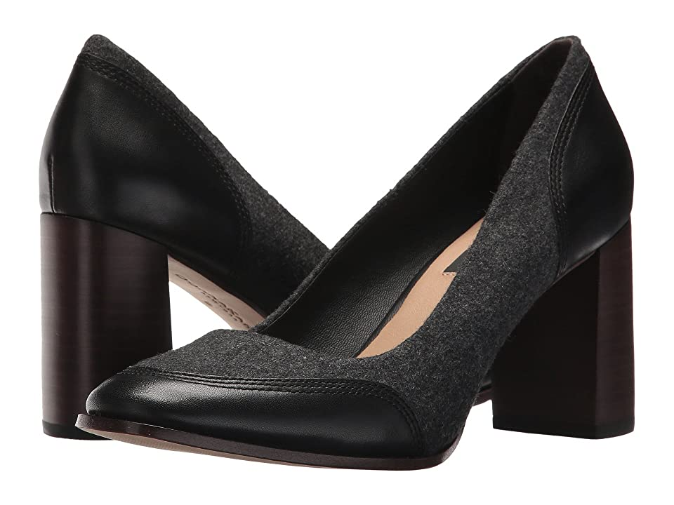 Donna Karan Shelby 75mm Pump (Charcoal/Black Smooth Oil Calf/Heavy Felt) High Heels