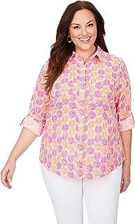 Foxcroft Womens Zoey Plus Wrinkle-Free Citrus Shirt, Multi