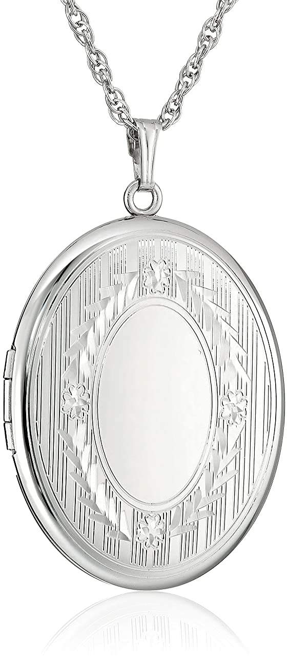 Sterling Silver Extra-Large Engraved Oval Locket Necklace, 22