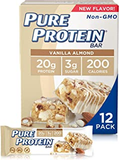 Pure Protein Bars, High Protein, Nutritious Snacks to Support Energy, Low Sugar, Gluten Free, Vanilla Almond, 1.76 oz, Pack of 12