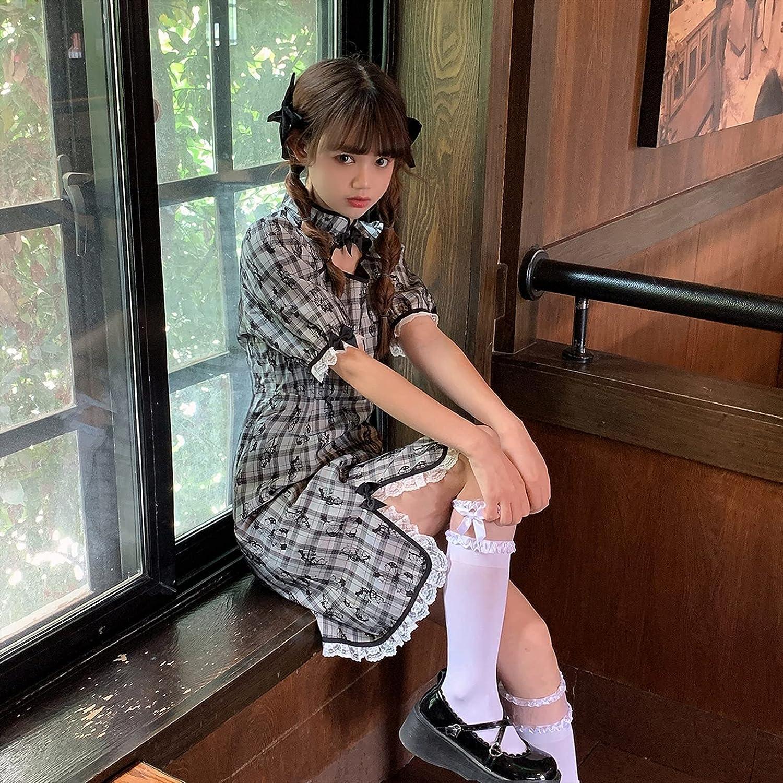 Mcttui Quantity limited Cheongsam Plaid Dress Female Ja Little 2021 autumn and winter new Summer Retro Style
