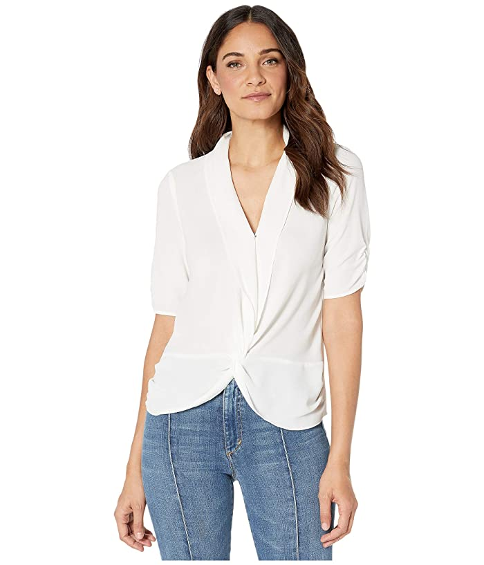 1.STATE  Cinched Sleeve Twist Front Blouse (Soft Ecru) Womens Blouse