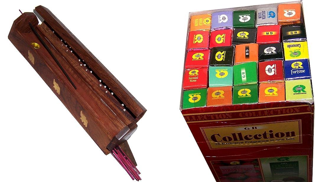 切る花矩形木製Incense Burner with 25?Fragrances x 8?sticks set?–?by Holy Land市場