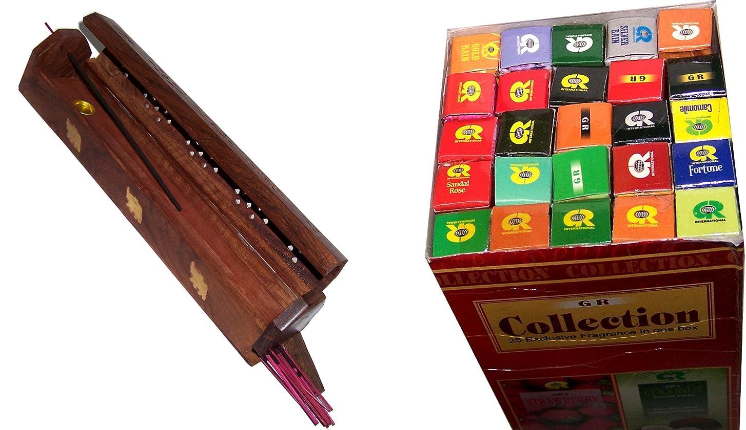 検証オーバーヘッド木製Incense Burner with 25?Fragrances x 8?sticks set?–?by Holy Land市場