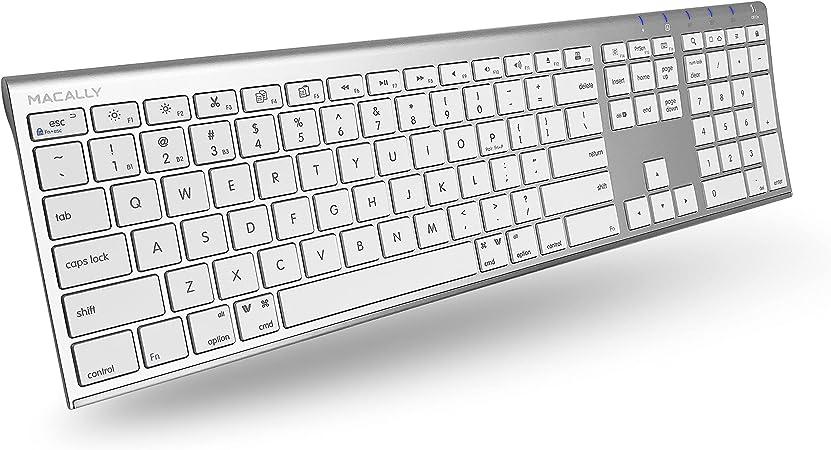 Macally ACEBTKEY-US, teclado Bluetooth ultra-delgado para Mac, PC, iOS y Android, disposición de la tapa de la llave QWERTY US