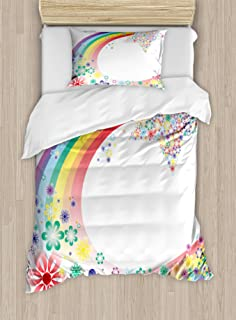 Ambesonne Abstract Duvet Cover Set, Abstract Nature Fantasy Spring Floral Rainbow Stars Flowers Cheerful Fun Design, Decorative 2 Piece Bedding Set with 1 Pillow Sham, Twin Size, Rainbow Colors