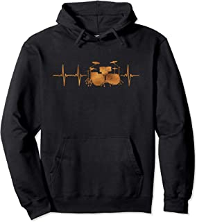 Drums Heartbeat Hoodie, Music Drumming Gift for Drummers
