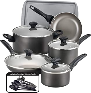 Farberware Dishwasher Safe Nonstick Cookware Pots and Pans Set, 15 Piece, Pewter