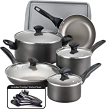 Farberware 21896 Dishwasher Safe Nonstick Cookware Pots and Pans Set, 15 Piece, Pewter