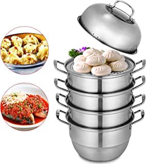 VEVOR Dumpling Steamer Stainless Steel 5 Titer Stainless Steel Steamer Work with Gas Electric Grill Stove Top(Dia 28cm/11inch)
