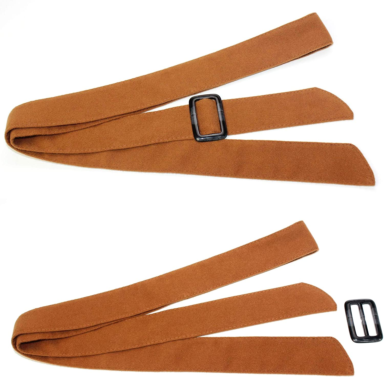 TeeYee Damen Mädchen 4.7cm Breite Winter Taille Band Wolle Vermischung Gürtel Braun