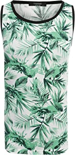 COOFANDY Men's Hawaiian Tank Tops Sleeveless Shirt Crewneck Aloha Shirts Beach Holiday