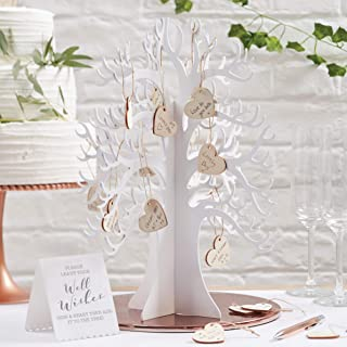 Ginger Ray Wooden Wishing Tree & Hearts Alternative Wedding Guest Book Beautiful Botanics, White