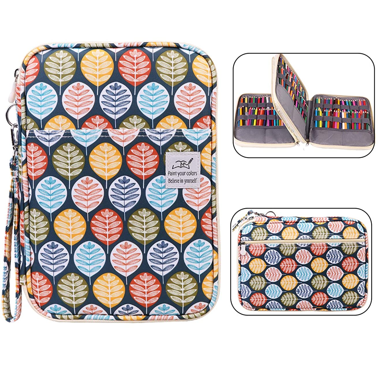 Max 192 Slots Colored Pencil Case Large Capacity Pencil Holder Multi-Layer Pen Organizer Bag for Watercolor Pencils & Markers& Gel Pens,Great Gift for Student Artist (Leaf)
