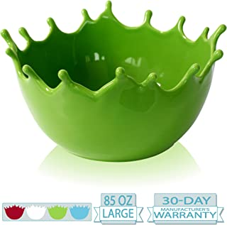 Premium Large Salad Bowl - Serving Bowl - Fruit Bowl - Candy Dish - Decorative Centerpiece Bowl - Best for Serving Fruit Salad Candy Popcorn Punch Chips Pasta - Unique Modern Design - Ceramic (Green)