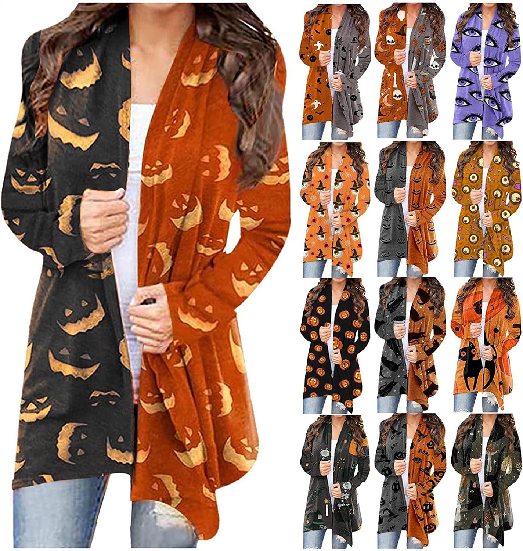 AIHOU Halloween Clothes for Women Pumpkin Face Black Cats Skeleton Retro Print Cardigan for Women Long Sleeve Coat Blouses
