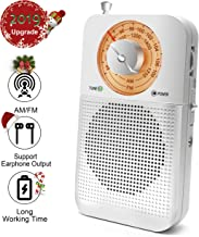 AM/FM Portable Radio, Best Reception Pocket Retro Radio with Headphone Jack, 2 AA Battery by for Travelling, Jogging and Walking Lovely Gift for Eleder