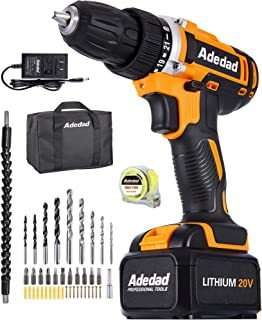 Cordless Drill Set - Adedad 20V Drill with 300 in-lbs Torque, Max 1550 RPM Variable Speed, Built-in LED   Power Drill/driv...