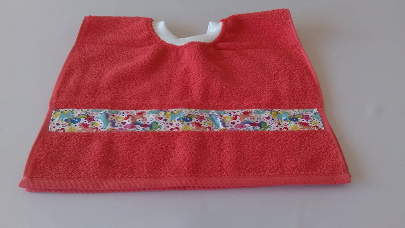 Pull Over Terry Bib - Stars and Ponies / Orange - Toddler Cover up Bib