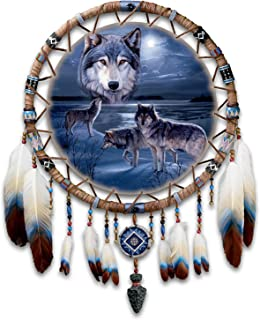 Daniel Smith Wolf Art Leather Dreamcatcher Wall Decor: Guardians of the Night by The Bradford Exchange