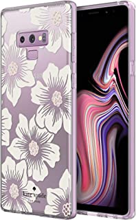 kate spade new york Defensive Hardshell Case for Samsung Galaxy Note9 - Hollyhock Floral Clear/Cream with Stones