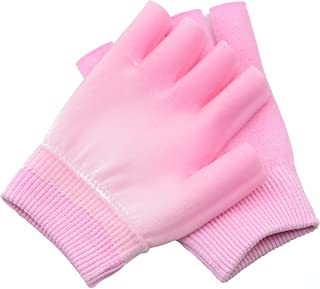 1 Pair Moisturizing Spa Gloves Half Finger Touch Screen Gloves Gel Line with Essential Oils and Vitamin E (Pink)