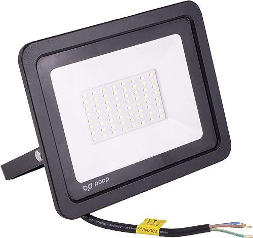 POPP® Foco Proyector LED 50W para uso Exterior Iluminación Decoración 6000K luz fria Impermeable IP65 Negro y Resiste...
