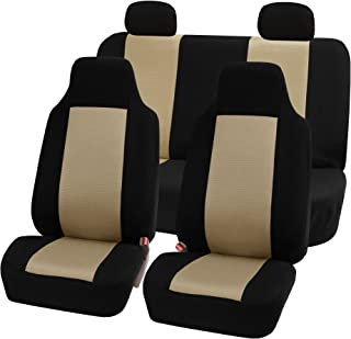 FH Group FB102114 Full Set Classic Cloth Car Seat Covers w. E-Z Travel Car Storage Bag, Beige/Black - Fit Most Car, Truck, SUV, or Van