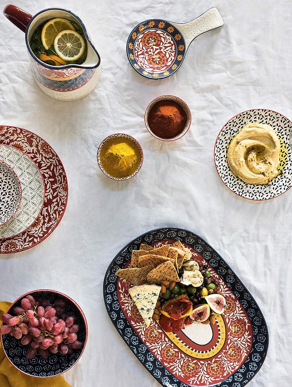 Set of 4 20 cm Maxwell /& Williams Boho Dessert Plates Batik Grey Porcelain