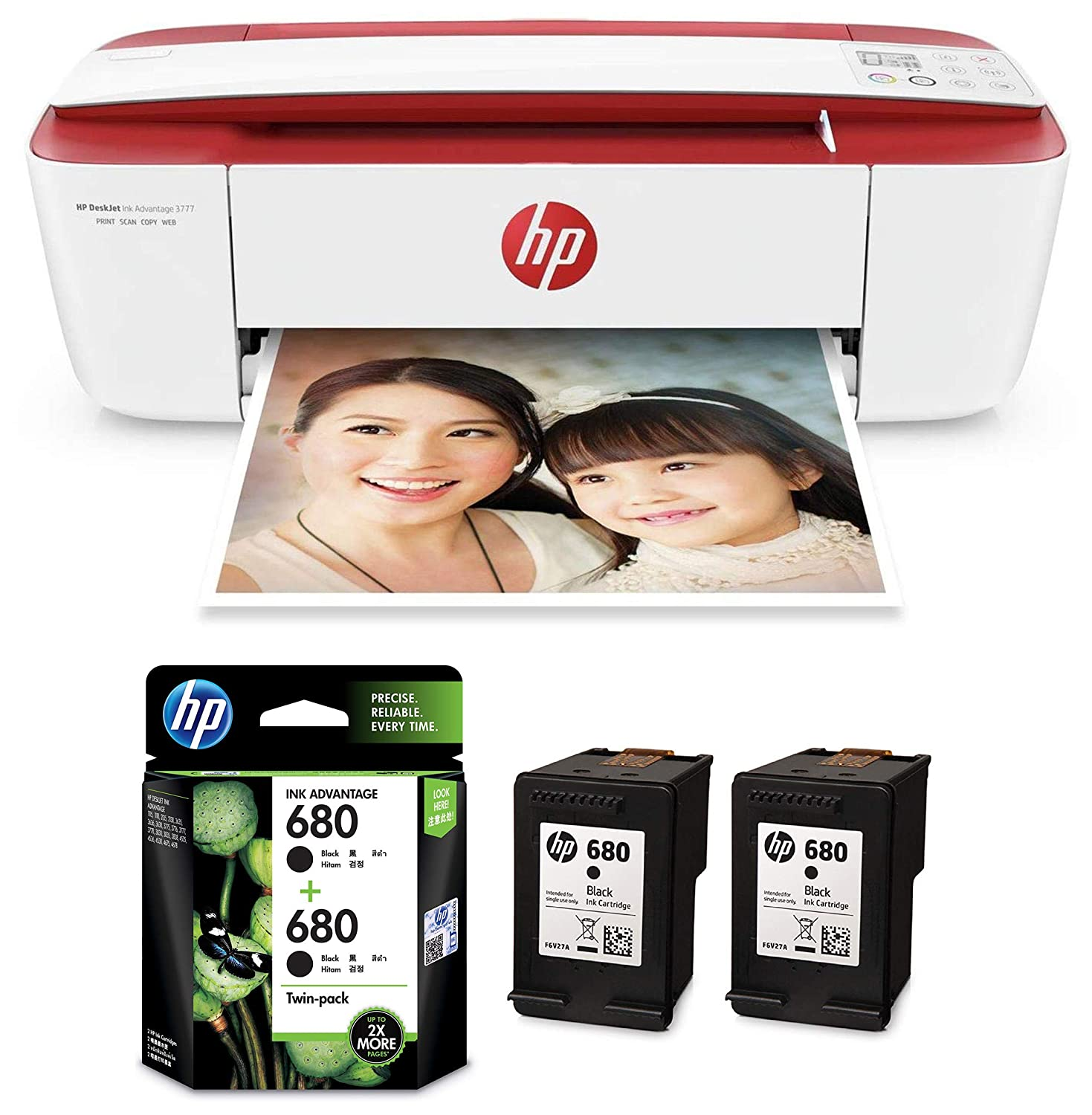 Amazon In Buy Hp Deskjet Ink Advantage 3777 T8w40b All In One Printer Hp 680 Black Ink Cartridges Twin Pack X4e79aa Online At Low Prices In India Hp Reviews Ratings