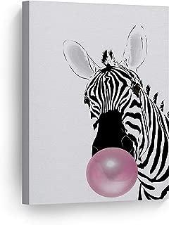 Smile Art Design Zebra Animal Bubble Gum Art Pink Canvas Print Black and White Wall Art Home Decoration Pop Art Living Room Kids Room Decor Nursery Ready to Hang-%100 Handmade in USA - 12x8