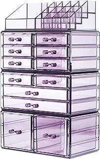 Readaeer Makeup Cosmetics Organizer Storage Display Boxes with 12 Drawers (Purple)