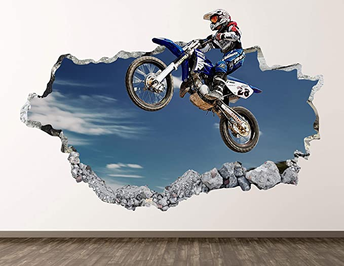 Wall Stickers Motor Bike Motorbike Smashed Decal Poster 3D Art Vinyl Room H210