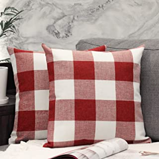 JOJUSIS Buffalo Check Christmas Pillow Covers 18 x 18 Inch Pack of 2 Red
