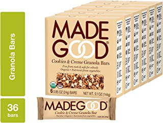 MadeGood Cookies and Creme Granola Bars, 6 Bars (0.85 oz), 6 Boxes; Contain Nutrients of One Full Serving of Vegetables, G...