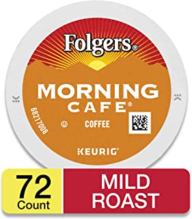 Folgers Morning Cafe, Mild Roast Coffee, K-Cup Pods for Keurig K-Cup Brewers, 12-Count (Pack of 6), Packaging May Vary
